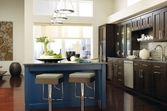 dark_wood_cabinets_blue_kitchen_island
